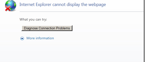 Internet explorer cannot load the page with cartoon globe and small red cross