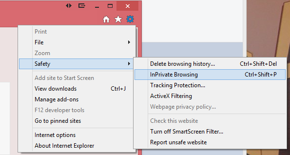 how to open an incognito window in explorer