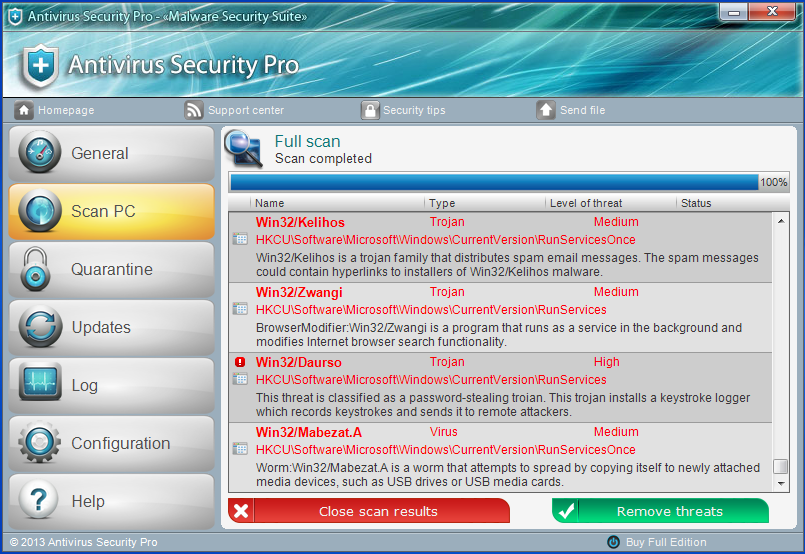 scam anti virus protection shown  computer