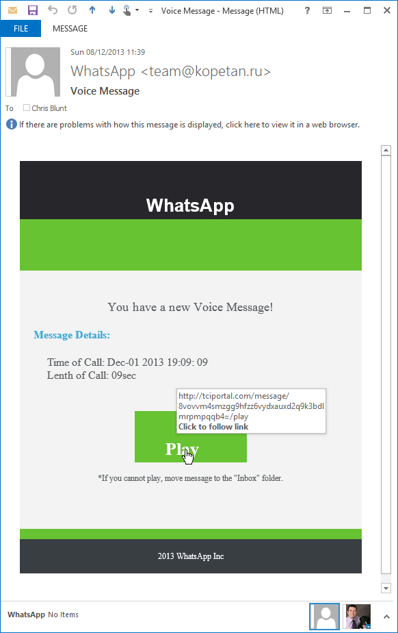 scam voice message in email