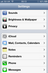 iPhone settings to show where iCloud is