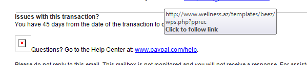 mouse hovering over a link to show that it is a scam