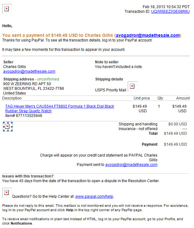 scam email pretending to be from PayPal